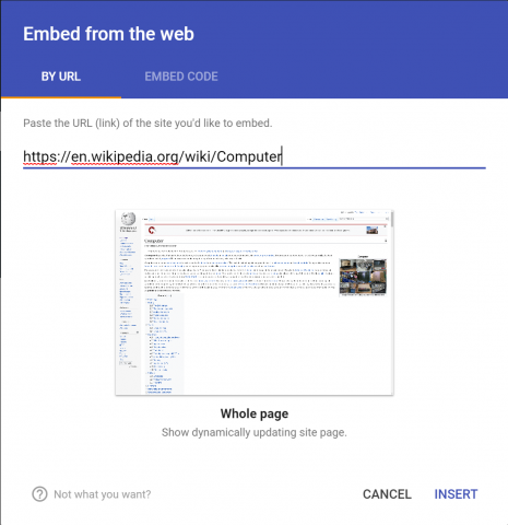 New Google Sites Embed from the Web pop-up