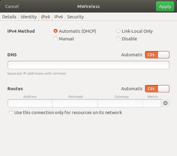 Screenshot of the IPv4 tab on Linux
