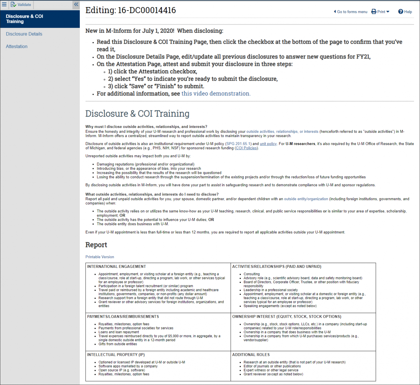 M-Inform Disclosure & COI Training page top