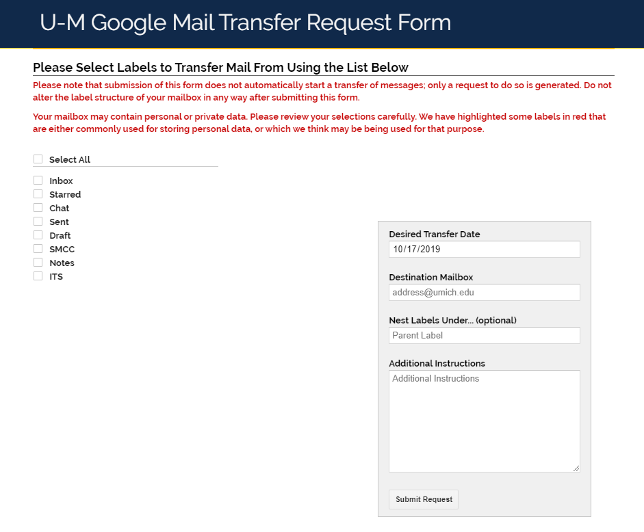 Screenshot of the U-M Google Mail Transfer Form