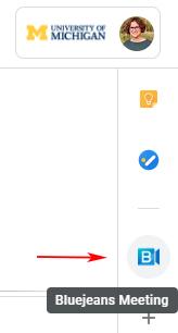 Screenshot of Google Calendar sidebar with BJN add-on.