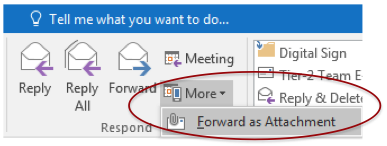 Image shows the attachments button in Outlook for Windows.
