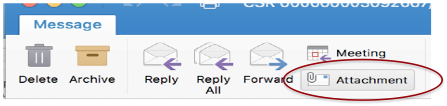 Image shows the attachments button in Outlook for the Mac.