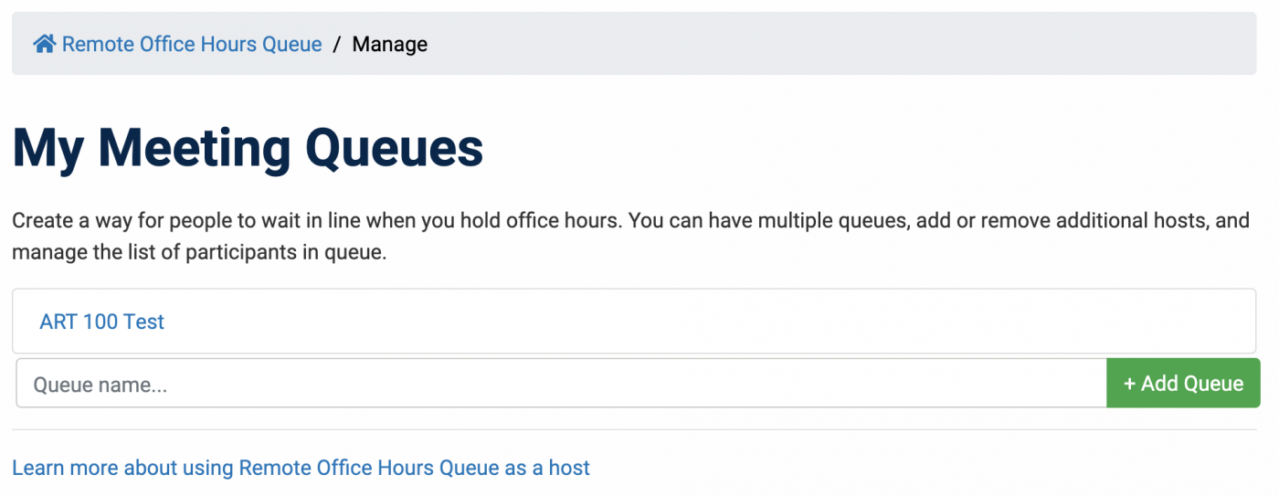 My Meeting Queues list