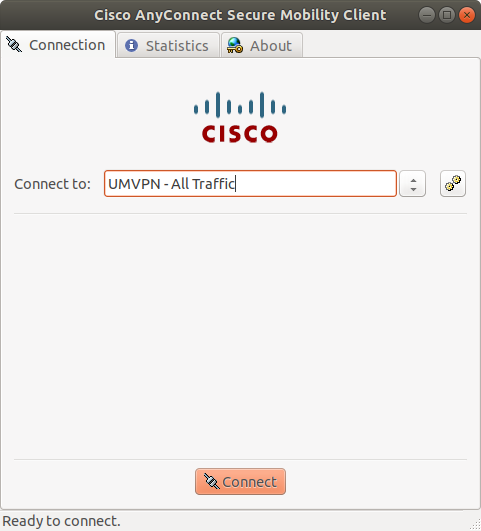 Screenshot of the Cisco AnyConnect dialog box to connect.
