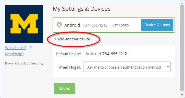 Add a new device page