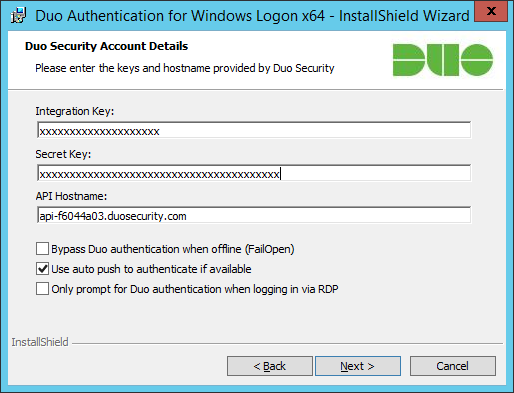 Duo Authentication for Windows Logon x64 - InstallShield Wizard