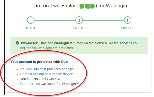 Duo Settings and Devices page