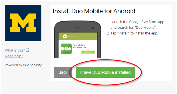 Install Duo Mobile page