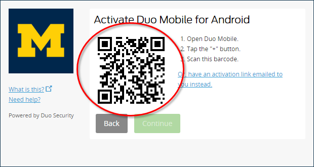 Activate Duo Mobile page