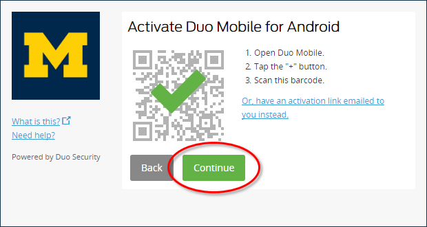 Activate Duo Mobile - Success page