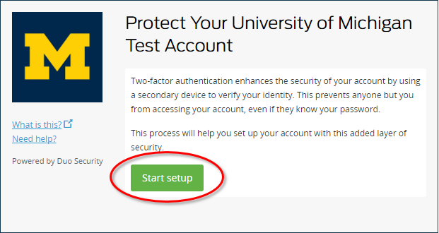 Duo Two-Factor Authentication Start Setup page