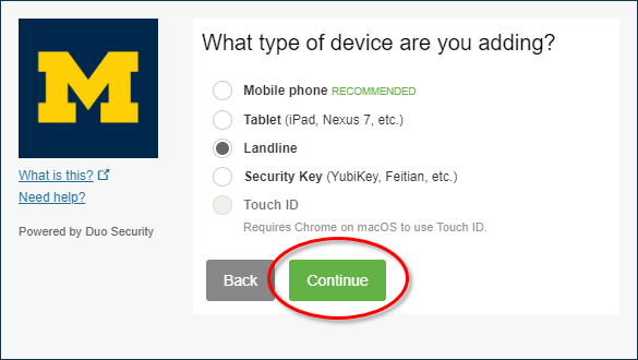 What type of device are you adding? page. Mobile, table, or landline options.
