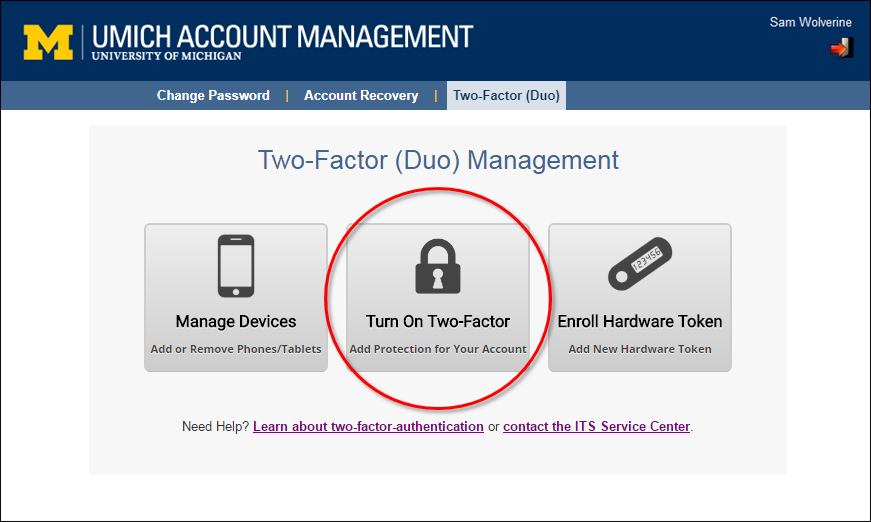 UMICH Account Management - Two-Factor (Duo)