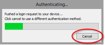 RDP automatic push dialog box