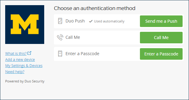 Choose an authentication method page