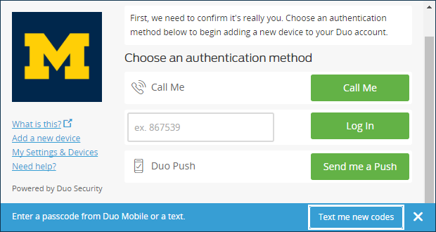 Choose an authentication method page - text me new codes button
