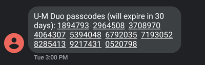 text message with passcodes