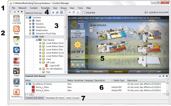 Content Manager main screen with numbers next to key elements
