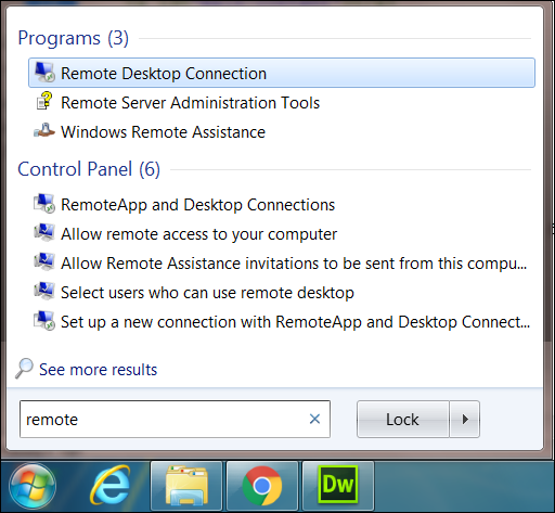 Windows Start Menu - Remote Desktop Connection