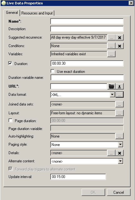 live data properties window