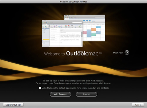 Outlook 2011startup screen