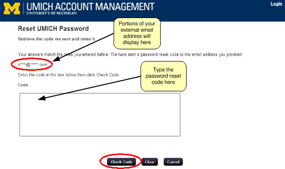 Screenshot of reset UMICH password page where part of your email address displays with portions replaced with asterisks and a box below where you type the password reset code.