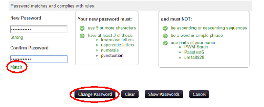 Screenshot showing the word Match that appears when your retyped password matches the new password you entered. The change password button then becomes clickable.