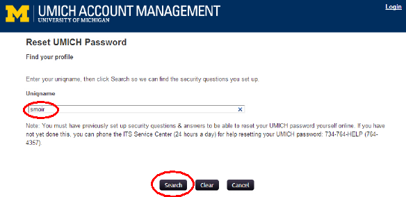 Screenshot of reset UMICH password page with uniqname entered in uniqname field and the search button circled.