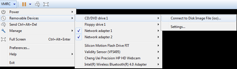 From the VMRC menu, select Removable Devices, CD/DVD drive, Connect to Disk Image File (iso)... and select your Operating System ISO (from step 1).