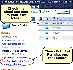 Screenshot of checkbox and of Set Permissions for Folder link
