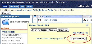 Screenshot of Upload File(s) button