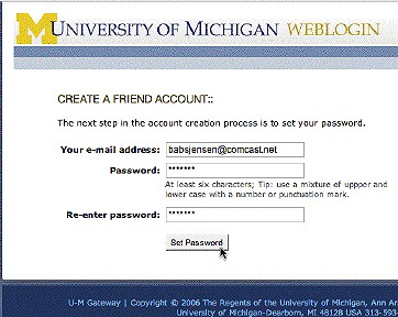 Screenshot of where you select a password.