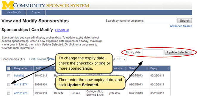 Screenshot of View and Modify Sponsorships. To change the expiry date, select the checkbox of one or more sponsorships. Then enter the new expiry date in the Expiry date box and click on the Update Selected button.