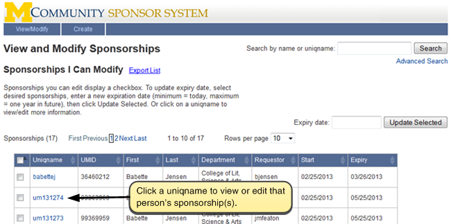 Screenshot of View and Modify Sponsorships. Click on a uniqname to edit the entry.