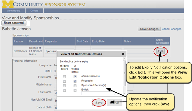 Screenshot of View and Modify Sponsorships. To edit Expiry Notification options, click Edit. Update the notification options, then click the Save button.