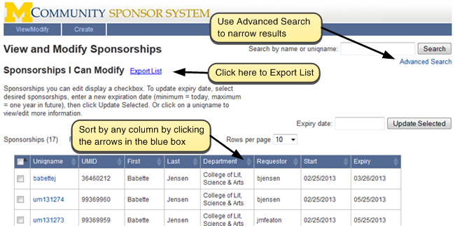 Screenshot of View and Modify Sponsorships. Sort by any column by clicking the arrows in the blue box. Click 'Export List' to export list.