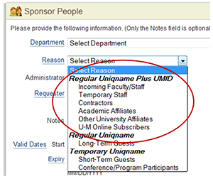 Screenshot of sponsorship reasons.
