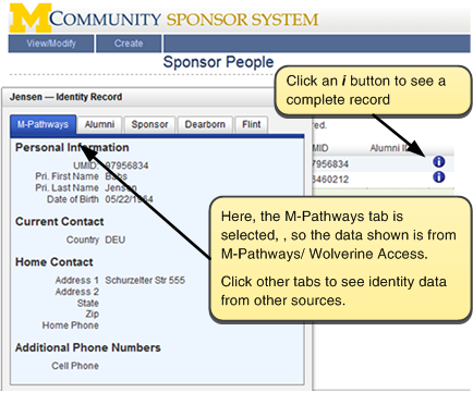 Screenshot of i button and the information it reveals. Click an i button to see a complete record. Here, the M-Pathways tab is selected, so the data shown is from M-Pathways/Wolverine Access. Click other tabs to see identity information from other sources.