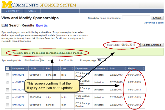Screenshot of confirmation page showing the updated Expiry Date of sponsorships.