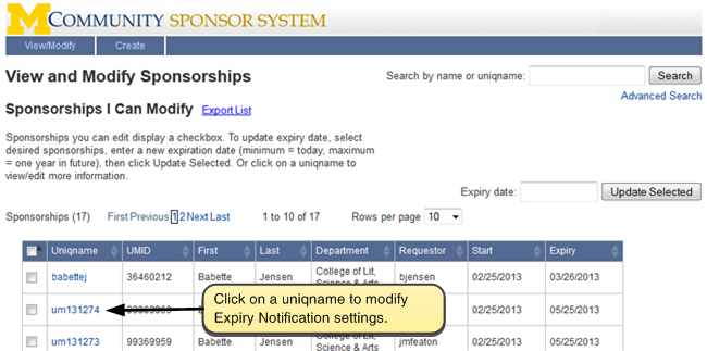Screenshot of list of sponsorships.