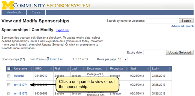 Screenshot of View and Modify Sponsorships. Click on a uniqname to view or edit the entry.