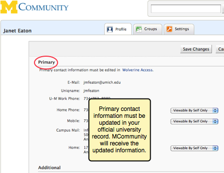 Screenshot showing primary addresses and phone numbers that cannot be changed in MCommunity.