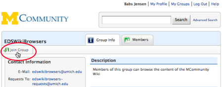 Screen shot of Join Group button.
