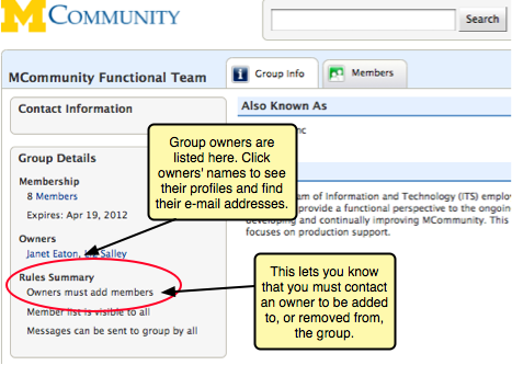 Screenshot of group profile of a group where you must contact an owner to be added. This is listed in the Rules Summary in the profile.