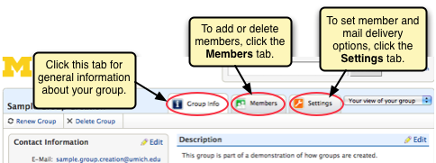 Screen shot of group tabs for making changes.