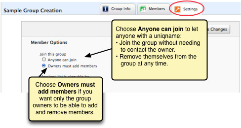 Screenshot of the options for adding and removing members. You can have only the owners do this or allows members to join and resign themselves.