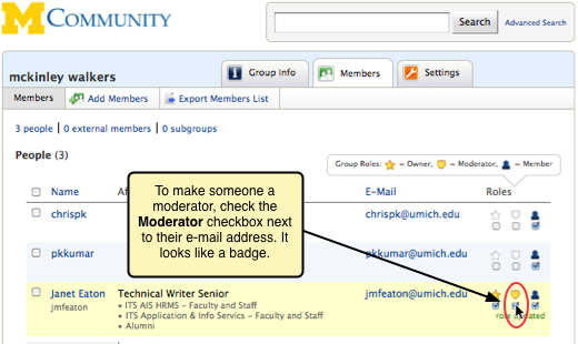 Screenshot of the Moderator checkbox next to a person's email address.