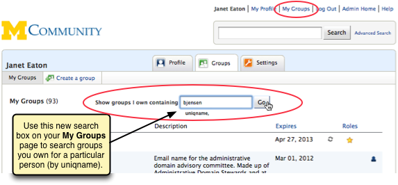 Screenshot of the new search box at the top of the My Groups page labeled 'Show groups I own containing.'