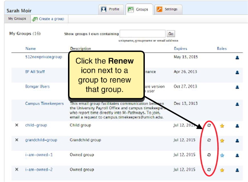 Screenshot of group list. Click the renew icon to the right of a group to renew that group.
